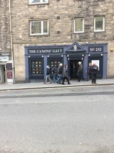 Canons' Gait pub in Edinburgh's Canongate.-?